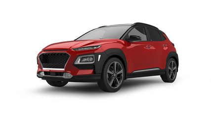 Foto op Canvas Snelle auto s Compact SUV 3D Rendering Isolated on White