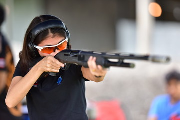 Guns used in shooting sports and race trips.Amateur gunner and Thai national gunners are practicing and shooting test To compete in the trophy at Prachuap Khiri Khan, Thailand on 25 August 2018