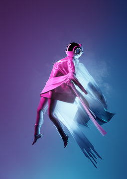 Woman in a futuristic space suit flying, 3D illustration