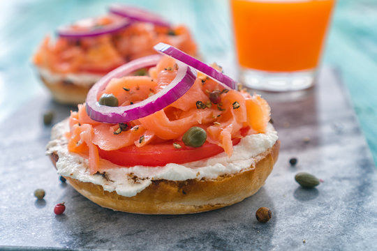Bagel with smoked salmon and cream cheese for the breakfast