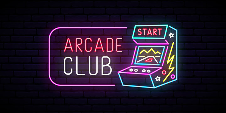 Arcade game machine neon sign. Arcade club emblem. Advertising design. Night light signboard. Vector illustration.