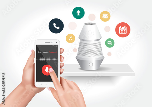 Vector design showing a smart speaker compatible with the smartphone