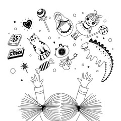 Girl's reaching her arms to toys. Kid's toys and sweets. Black and white illustration for coloring book. Vector outline illustration