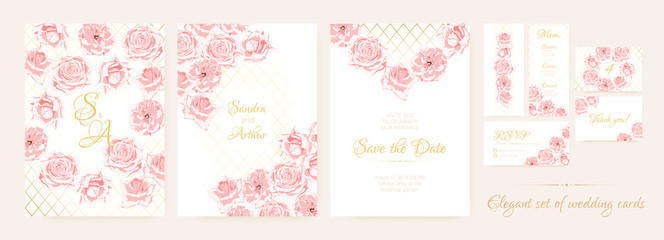 Wedding Cards Set with Delicate Pink Roses.