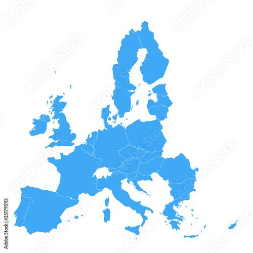 Political map of European Union, EU, member states  Simple