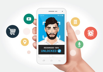 Vector graphics showing a hand holding a smartphone with face recognition system to unlock the application. Identification of a man's face