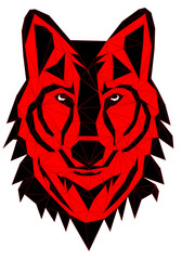 Geometric vector head of wolf drawn in line or triangle style, suitable for modern tattoo polygonal templates, icons or logo elements VECTOR EPS 10