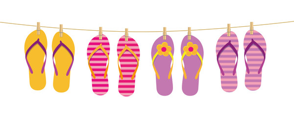flip flops hang on the rope attached with clothespins vector illustration EPS10