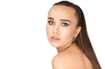 Beauty portrait. Beautiful brunette woman wearing crop top with perfect fresh skin