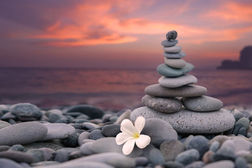 Pyramid of stones and a white flower on the beach by the sea on the background of a colorful sunset