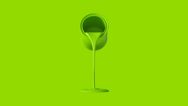Lime Green Paint Tin Pouring 3d illustration 3d render