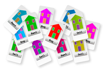 Group of tickets with several options: buy, sell or rent your home; make your choice!