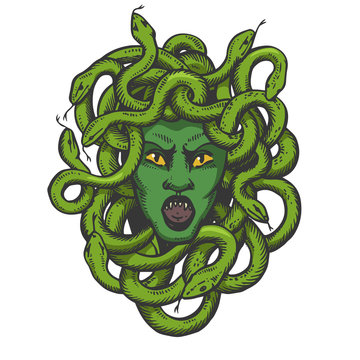 Medusa head with snakes greek myth creature color sketch engraving vector illustration. Scratch board style imitation. Black and white hand drawn image.