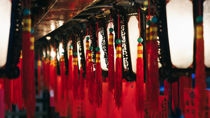 Traditional chinese lanterns in the Man Mo temple, Hong Kong Island