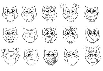Cute owls collection. Outlined black and white cartoon coloring page game for kids. Bector illustration.