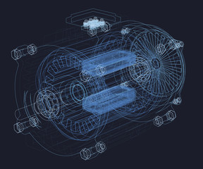 Wireframe of the motor. Internal parts of the engine. 3D Vector illustration