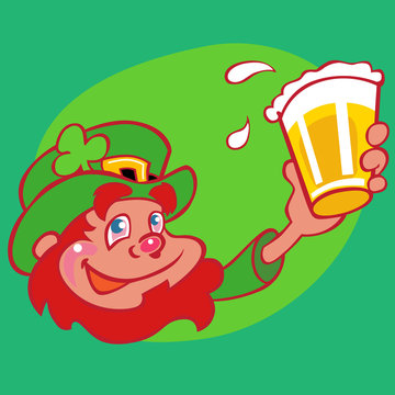 drunk leprechaun red beard and beer