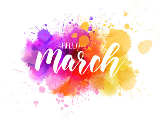 Hello March - spring concept background