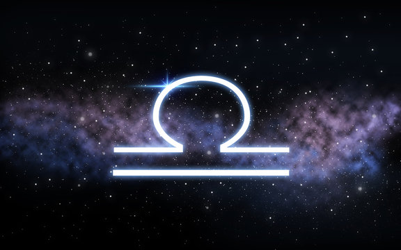 astrology and horoscope - libra zodiac sign over dark night sky with stars and galaxy background