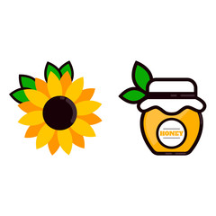 cartoon jar with honey and label and sunflower and leaves