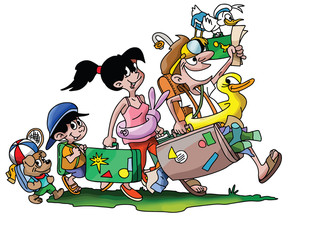 Cartoon family going on a vacation with their dog vector illustration