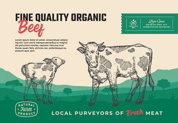 Fine Quality Organic Beef. Abstract Vector Meat Packaging Design or Label. Modern Typography and Hand Drawn Cow with Calf Silhouettes. Rural Pasture Landscape Background Layout with Banner