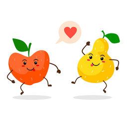 Cute and funny apple and pear emoticons. Vector fruit on white background
