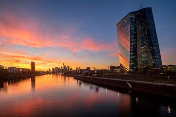 Europäische Zentralbank mit Frankfurter Skyline im Sonnenuntergang