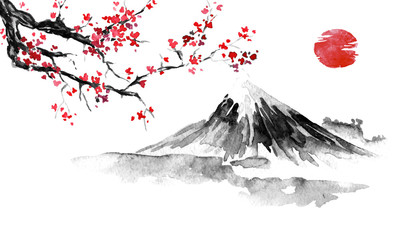 Japan traditional sumi-e painting. Fuji mountain, sakura, sunset. Japan sun. Indian ink illustration. Japanese picture. Wall mural