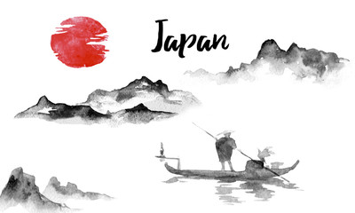 Japan traditional sumi-e painting. Indian ink illustration. Japanese picture. Man and boat. Mountain landscape