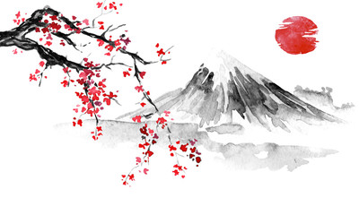 Japan traditional sumi-e painting. Indian ink illustration. Japanese picture. Sakura, sun and mountain