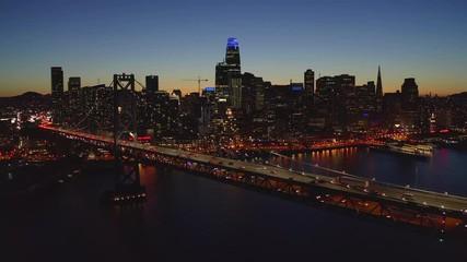 Fototapete - San Francisco aerial downtown skyline buildings drone