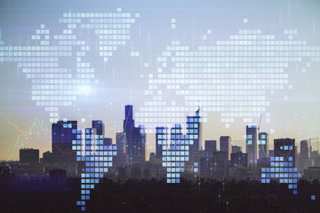 Double exposure of World map polygonal with city background. Globalization concept. Los Angeles