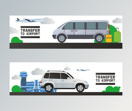 Airport transfer vector traveling by plane in airport departure terminal transportation by taxi car illustration backdrop set of passengers transport bus van background