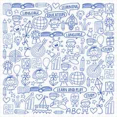 Vector set of learning English language, children's drawingicons icons in doodle style. Painted, drawn with a pen, on a sheet of checkered paper on a white background.