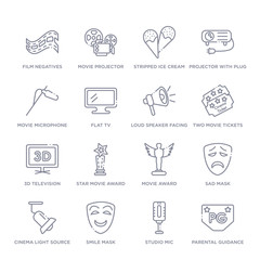 set of 16 thin linear icons such as parental guidance, studio mic, smile mask, cinema light source, sad mask, movie award, star movie award from cinema collection on white background, outline sign