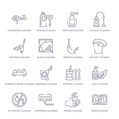 set of 16 thin linear icons such as rose cleanin, hands cleanin, compress cleanin, no water leaf tampon garbage cleanin from cleaning collection on white background, outline sign icons or symbols