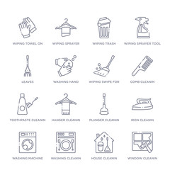 set of 16 thin linear icons such as window cleanin, house cleanin, washing cleanin, washing machine iron plunger hanger cleanin from cleaning collection on white background, outline sign icons or
