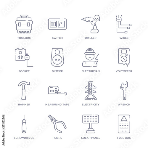 set of 16 thin linear icons such as fuse box, solar panel, pliers,  screwdriver, wrench, electricity, measuring tape from electrian connections  collection on