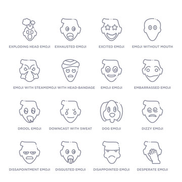 set of 16 thin linear icons such as desperate emoji, disappointed emoji, disgusted emoji, dissapointment dizzy dog downcast with sweat emoji from emoji collection on white background, outline sign