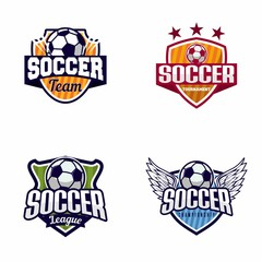 Set of Soccer Football Badge Logo Design Templates,Sport Team Identity Vector Illustrations isolated on white Background Collection of Soccer Themed T shirt Graphics - Vector