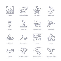 set of 16 thin linear icons such as tennis racket, parachuting, baseball field, airship, quad, climb, badminton from free time collection on white background, outline sign icons or symbols