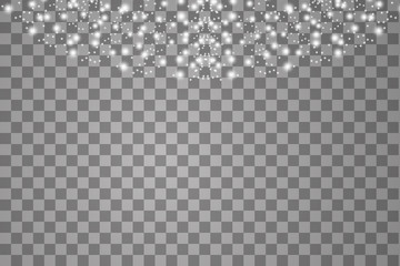 Lights on transparent background. Magic concept. Vector white glitter wave abstract illustration. White star dust trail sparkling particles isolated