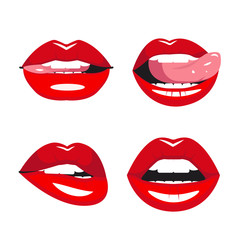 Set of vector red lips. Various types of woman lips. Seductive smiles, tongue touches the upper teeth. She bites her lips.