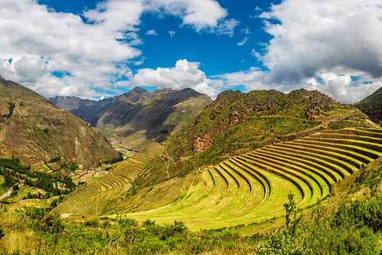 Inca ancient ruins at Pisac Archaeological site, Peru
