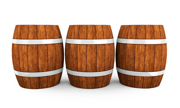 Wooden barrel with iron hoops isolated on white background. 3d rendering. Old barrel with rust on the hoops. Front view