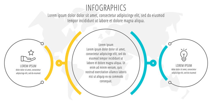 Modern and simple flat vector illustration. Infographic template with three circles, elements, sectors and percentages. Designed for business, presentations, web design, interface 3 step diagrams.