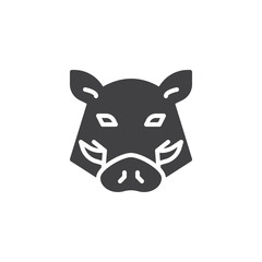 Boar head vector icon. filled flat sign for mobile concept and web design. boar animal glyph icon. Symbol, logo illustration. Pixel perfect vector graphics