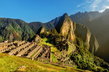 View of the Lost Incan City of Machu Picchu near Cusco, Peru. Machu Picchu is a Peruvian Historical Sanctuary and a UNESCO World Heritage Site. Machu Picchu is located in  Cusco Region in Peru.