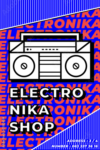 Electronic music poster  Music festival  Techno, drum and